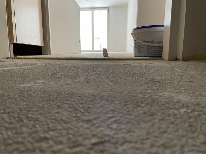 Zwangshöhenlage im Bereich der Wohnungseingangstüre durch fix versetzte Bodeneinstandschiene