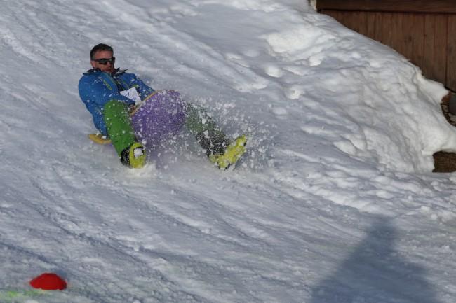 Mit dem Bob hatten die VÖEH-Mitglieder Spaß im Schnee.